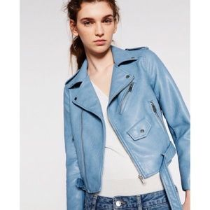Zara Blue Leather Jacket